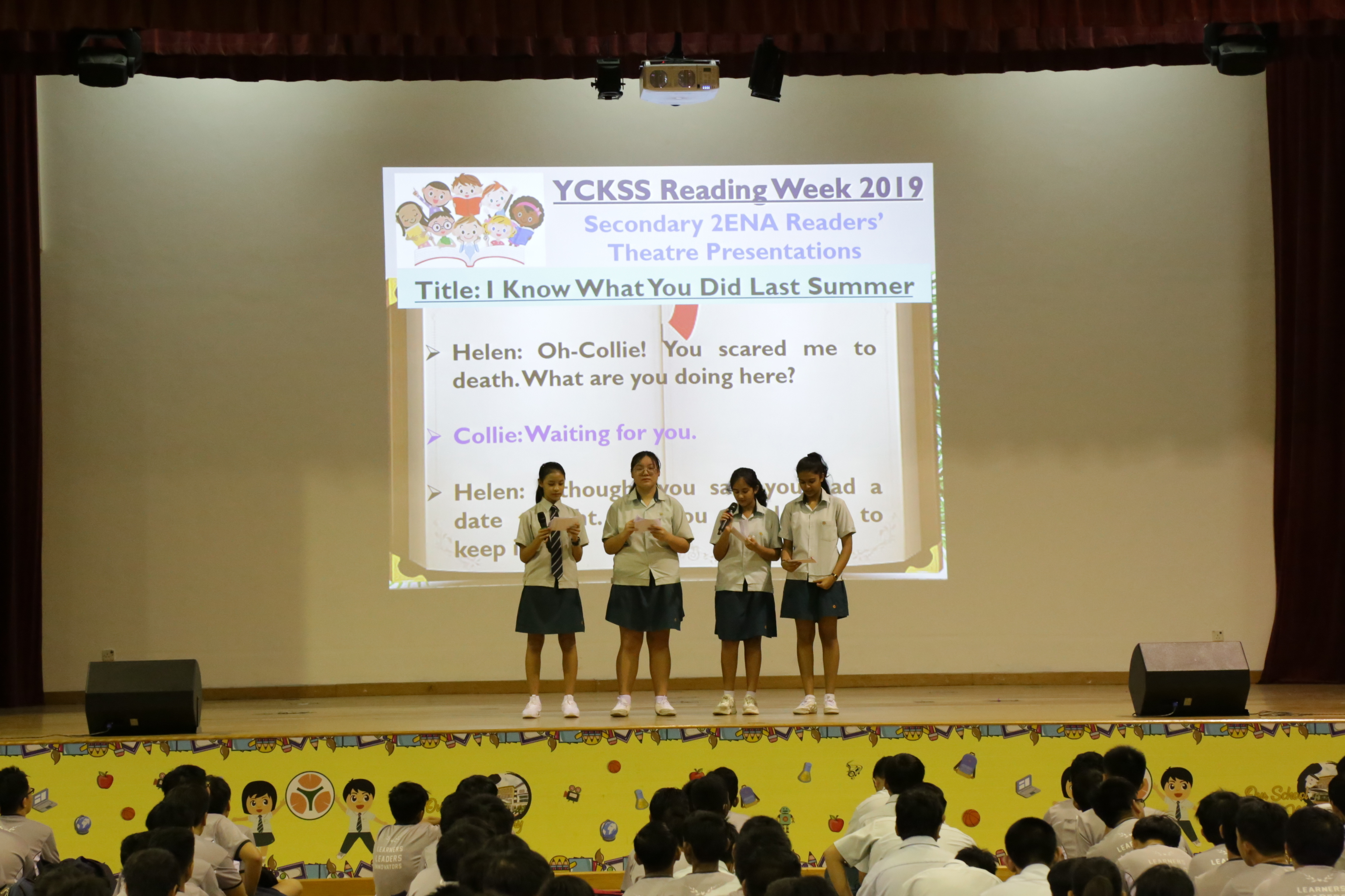 A readers theatre presentation at our inaugural Reading Week assembly programme.JPG